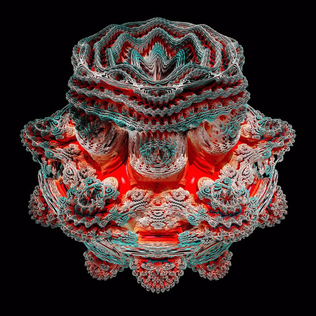 Mandelbulb fractal. Computer_generated image of a three_dimensional analogue derived form a Mandelbrot Set. : Stock Photo