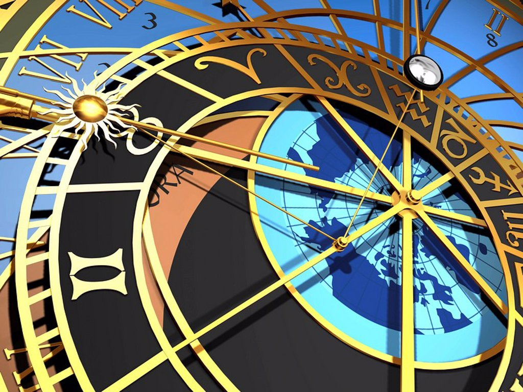 Astronomical clock, artwork : Stock Photo