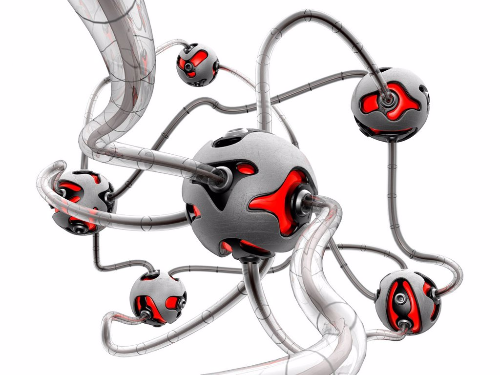 Computer artwork of a futuristic network made of metal balls with red lights, connected by grey cables. : Stock Photo
