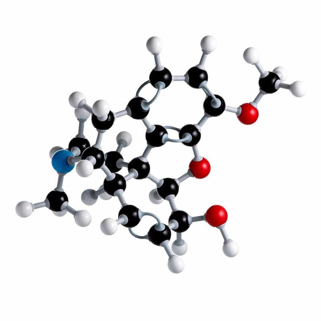 Codeine drug molecule. Atoms are represented as spheres and are colour_coded: carbon black, hydrogen white, nitrogen blue and oxygen red. : Stock Photo