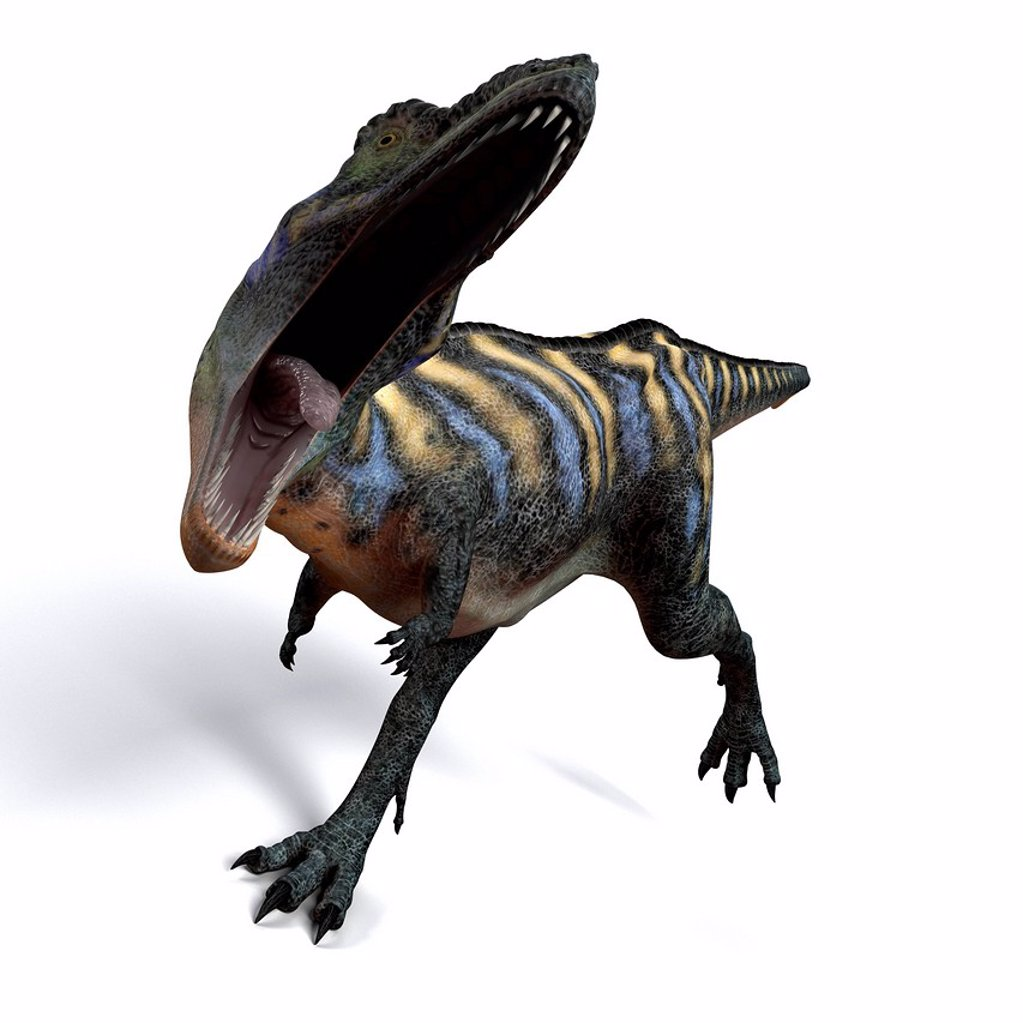 Aucasaurus dinosaur. Computer artwork of an Aucasaurus, a medium sized dinosaur from Argentina that existed during the late Cretaceous, around 100 to 65 million years ago. : Stock Photo