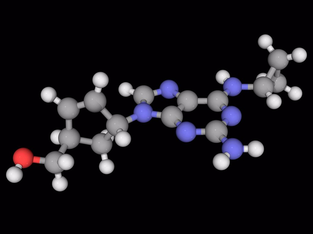 Abacavir, molecular model. Reverse transcriptase inhibitor used for HIV and AIDS treatment. Atoms are represented as spheres and are colour_coded: carbon grey, hydrogen white, nitrogen blue and oxygen red. : Stock Photo