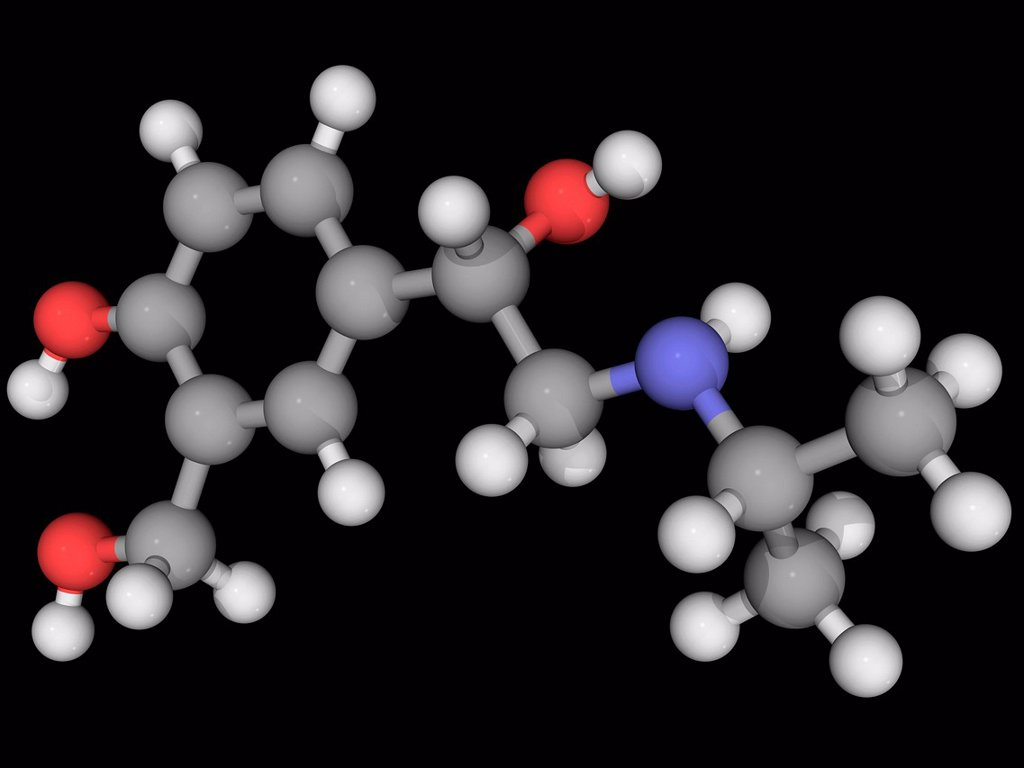 Albuterol, molecular model. Beta2_adrenergic receptor agonist for the treatment of asthma and chronic obstructive pulmonary disease. Atoms are represented as spheres and are colour_coded: carbon grey, hydrogen white, nitrogen blue and oxygen red. : Stock Photo