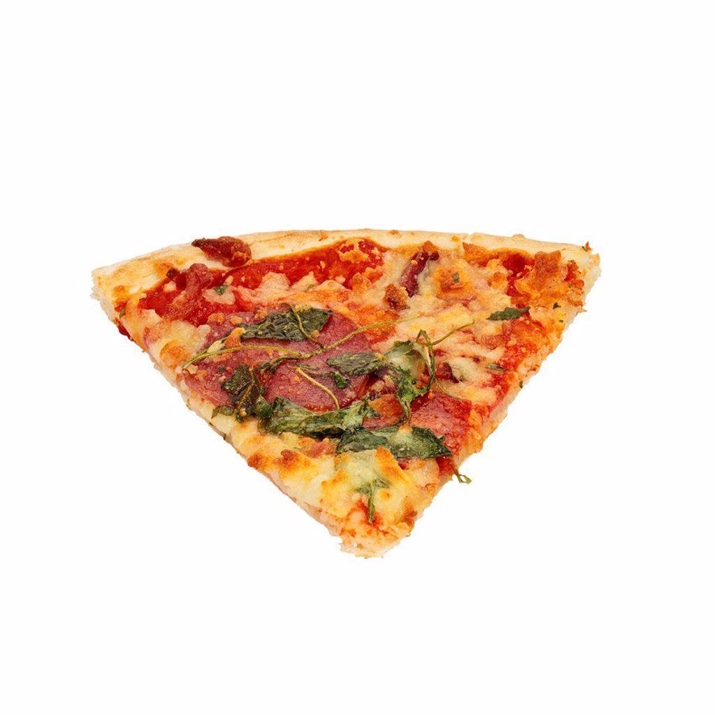 Slice of pizza salami, mozzarella, rocket : Stock Photo