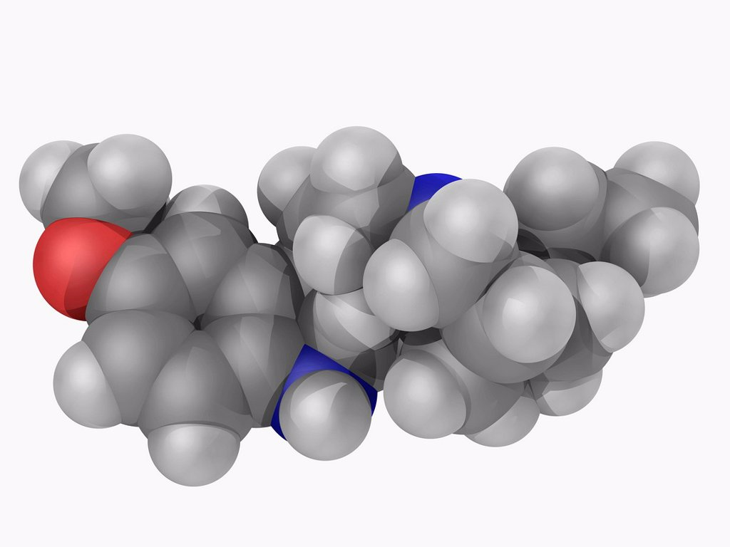 Stock Photo: 4128R-16390 Ibogaine, molecular model. Naturally occurring psychoactive substance found in a number of plants. Atoms are represented as spheres and are colour_coded: carbon grey, hydrogen white, nitrogen blue and oxygen red.