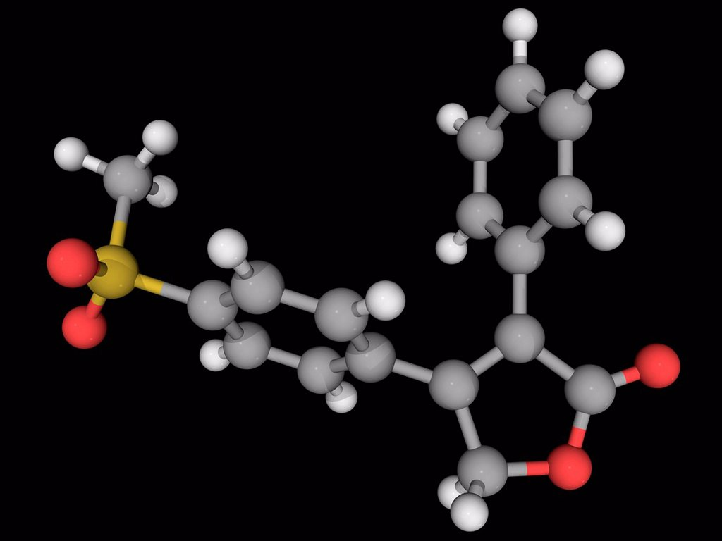 Stock Photo: 4128R-16435 Rofecoxib, molecular model. Nonsteroidal anti_inflammatory drug withdrawn over safety concerns. Atoms are represented as spheres and are colour_coded: carbon grey, hydrogen white, nitrogen blue, oxygen red and sulfur yellow.