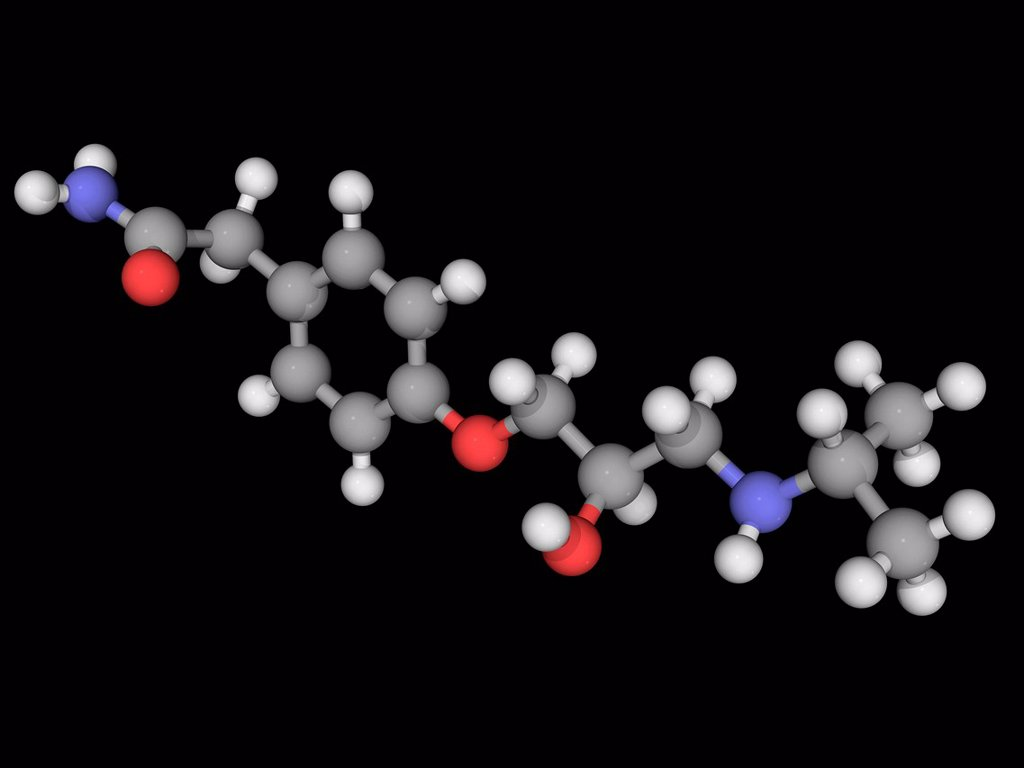 Stock Photo: 4128R-16489 Atenolol, molecular model. Beta blocker used in the treatment of hypertension. Atoms are represented as spheres and are colour_coded: carbon grey, hydrogen white, nitrogen blue and oxygen red.