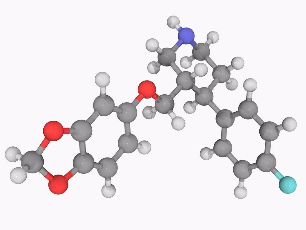 Paroxetine, molecular model. Selective serotonin reuptake inhibitor used for treating major depression, obsessive_compulsive disorder, panic disorder, social anxiety, posttraumatic stress disorder, and generalized anxiety disorder. Atoms are represented a : Stock Photo