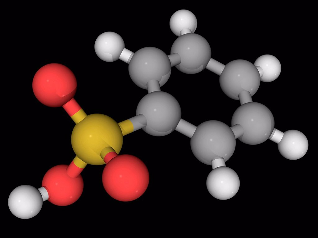 Stock Photo: 4128R-16581 Benzenesulfonic acid, molecular model. Simplest aromatic sulfonic acid. Atoms are represented as spheres and are colour_coded: carbon grey, hydrogen white, oxygen red and sulfur yellow.