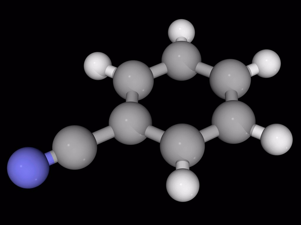 Benzonitrile, molecular model. Aromatic organic compound, precursor to many derivatives. Atoms are represented as spheres and are colour_coded: carbon grey, hydrogen white and nitrogen blue. : Stock Photo