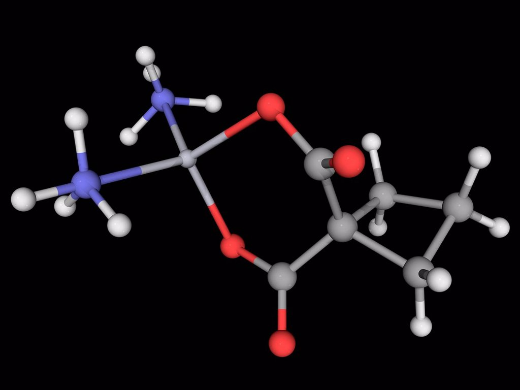 Stock Photo: 4128R-16586 Carboplatin, molecular model. Chemotherapy drug for the treatment of some forms of cancers. Atoms are represented as spheres and are colour_coded: carbon grey, hydrogen white, nitrogen blue, oxygen red and platinum grey.