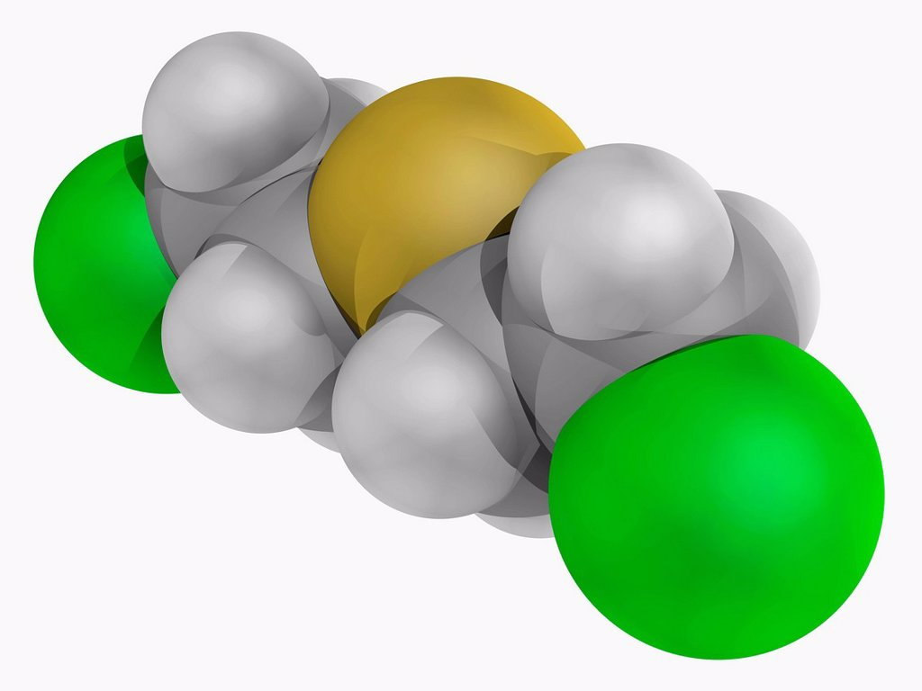 Stock Photo: 4128R-16610 Mustard gas molecular model. Chemical warfare agent forming large blisters on the exposed skin and in the lungs. Atoms are represented as spheres and are colour_coded: carbon grey, hydrogen white, sulfur yellow and chlorine green.
