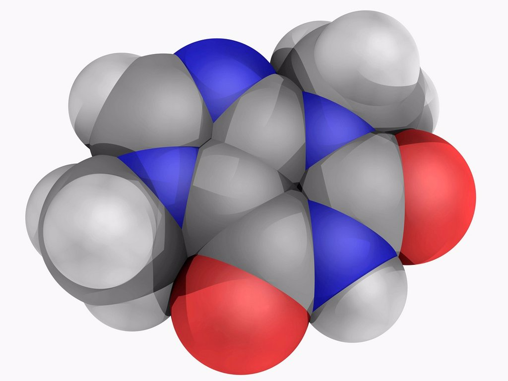 Stock Photo: 4128R-16614 Theobromine, molecular model. Bitter alkaloid of the cacao plant found in cocoa and chocolate. Atoms are represented as spheres and are colour_coded: carbon grey, hydrogen white, nitrogen blue and oxygen red.