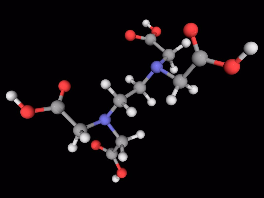 Edetic acid ethylenediaminetetraacetic acid, molecular model. Polyamino carboxylic acid widely used to dissolve limescale. Atoms are represented as spheres and are colour_coded: carbon grey, hydrogen white, nitrogen blue and oxygen red. : Stock Photo