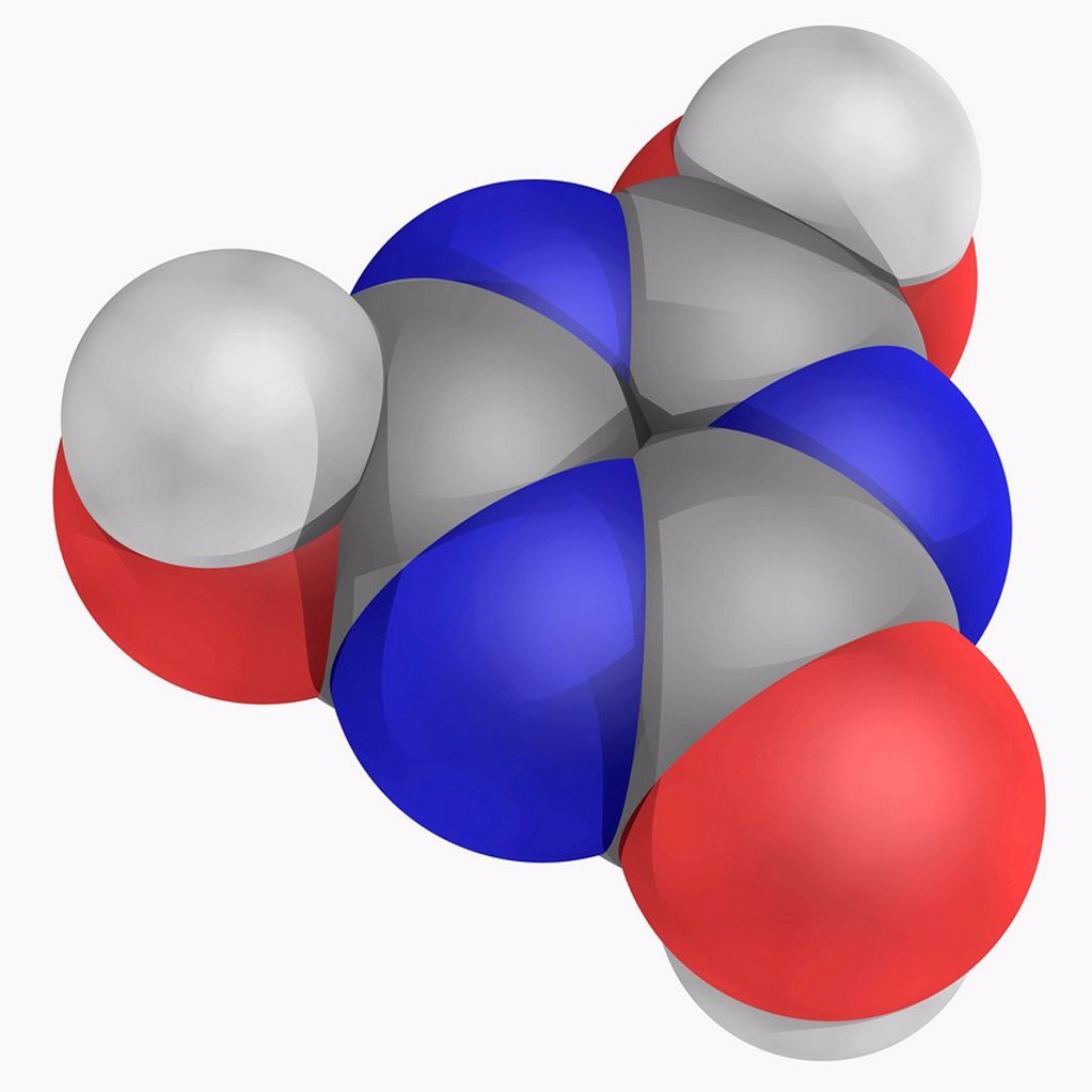 Cyanuric acid, molecular model. This organic compound is a precursor or component of bleaches, disinfectants and herbicides. Atoms are represented as spheres and are colour_coded: carbon grey, hydrogen white and oxygen red. : Stock Photo