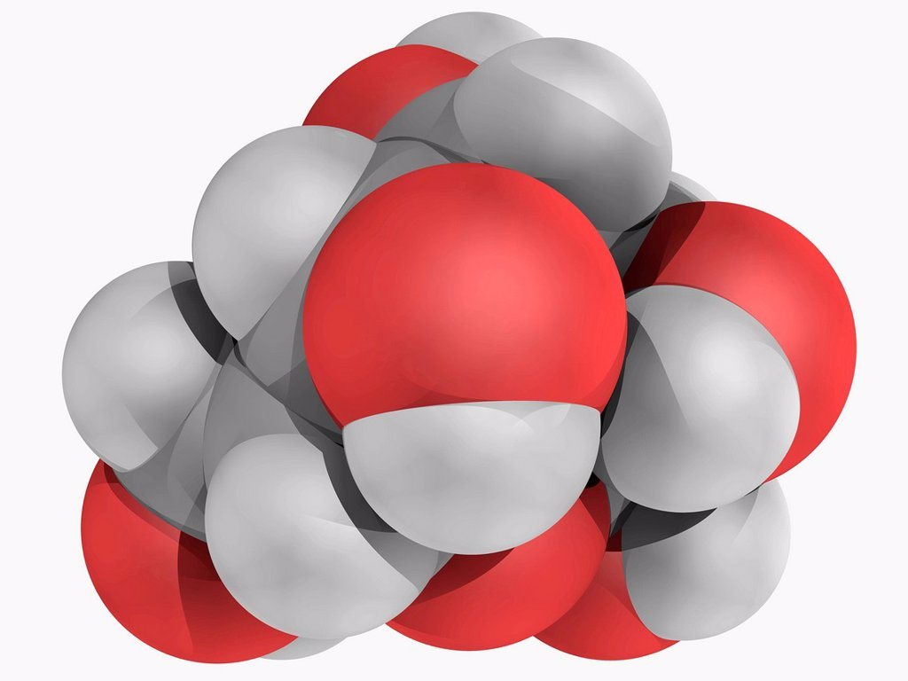 Stock Photo: 4128R-16705 L_glucose, molecular model. Organic compound and an enantiomer of the more common D_glucose, from which it is indistinguishable in taste. Atoms are represented as spheres and are colour_coded: carbon grey, hydrogen white and oxygen red.
