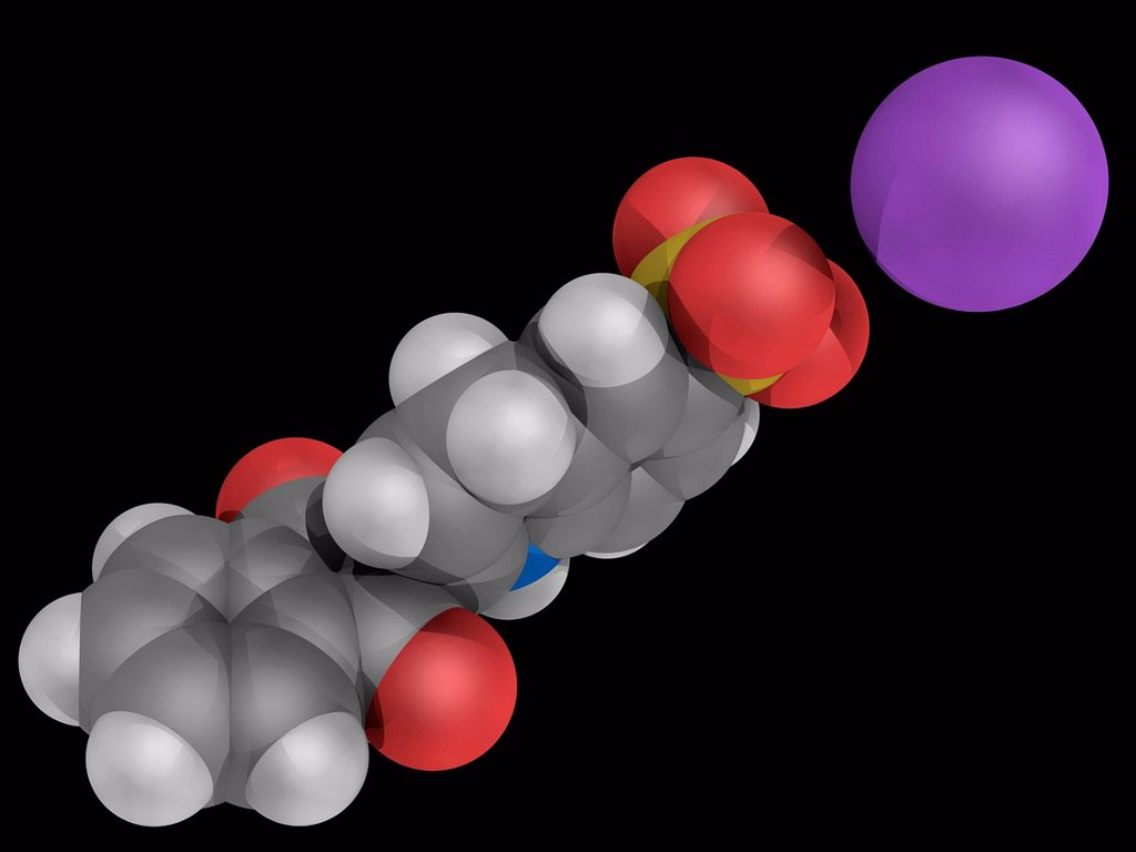 Stock Photo: 4128R-16753 Quinoline yellow E104, molecular model. Organic compound used as a water soluble greenish yellow food dye. Atoms are represented as spheres and are colour_coded: carbon grey, hydrogen white, nitrogen blue, oxygen red, sulfur yellow and sodium violet.