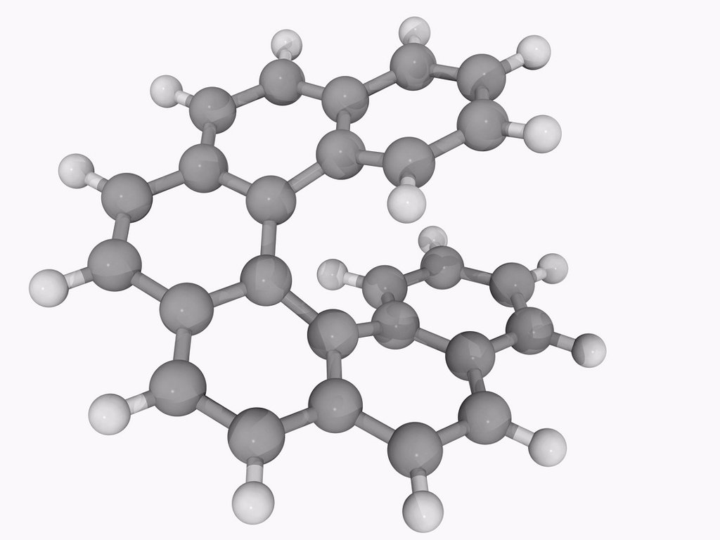 Stock Photo: 4128R-16787 Hexahelicene, molecular model. Aromatic compound with benzene rings angularly arranged to give a helical shape. Atoms are represented as spheres and are colour_coded: carbon grey and hydrogen white.