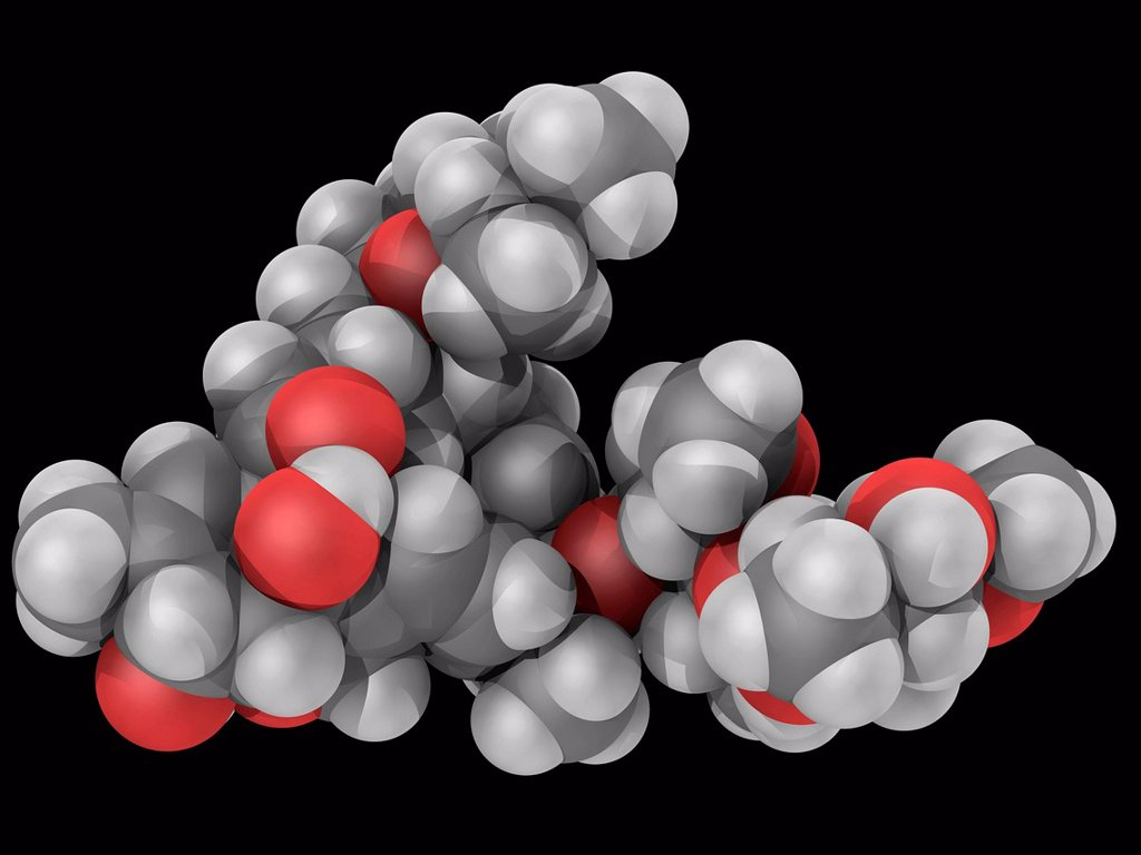 Stock Photo: 4128R-16839 Ivermectin, molecular model. Drug used as a broad_spectrum antiparasitic agent. Atoms are represented as spheres and are colour_coded: carbon grey, hydrogen white and oxygen red.