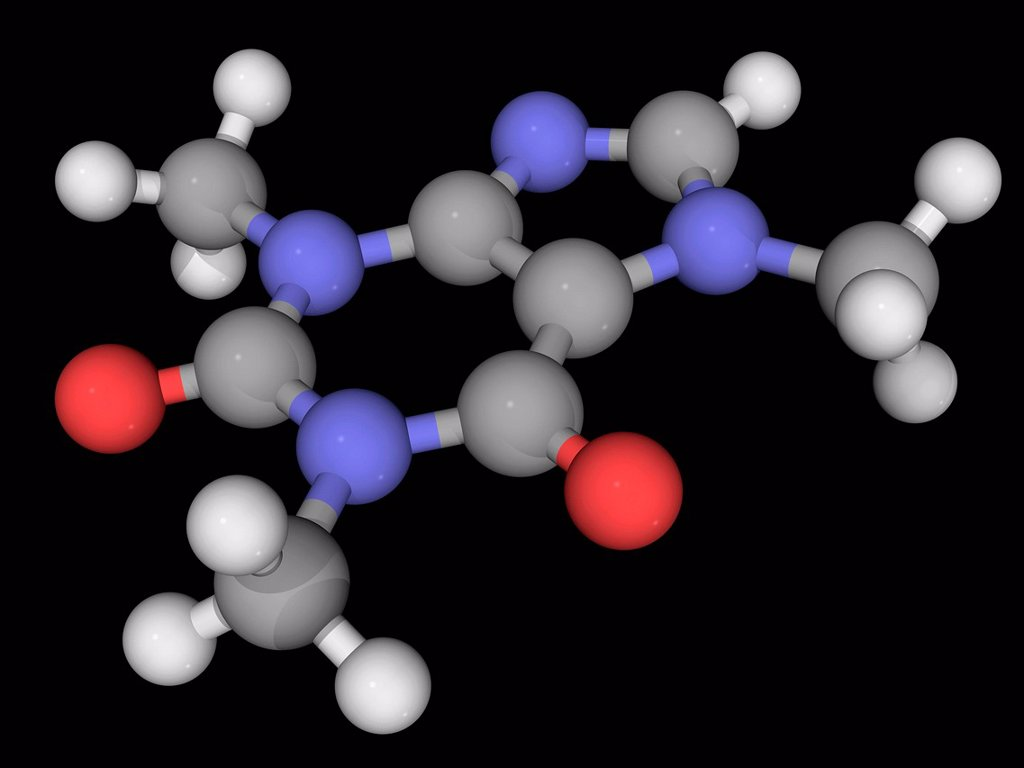 Caffeine, molecular model. Bitter, white alkaloid acting as a stimulant drug to the central nervous system. Atoms are represented as spheres and are colour_coded: carbon grey, hydrogen white, nitrogen blue and oxygen red. : Stock Photo