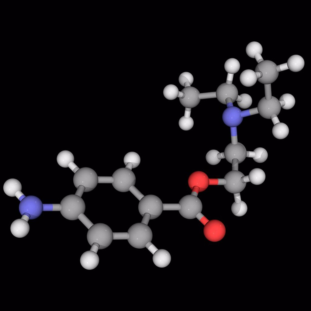 Stock Photo: 4128R-16894 Procaine novocaine, molecular model. Local aesthetic drug acting as a sodium channel blocker. Atoms are represented as spheres and are colour_coded: carbon grey, hydrogen white, nitrogen blue and oxygen red.