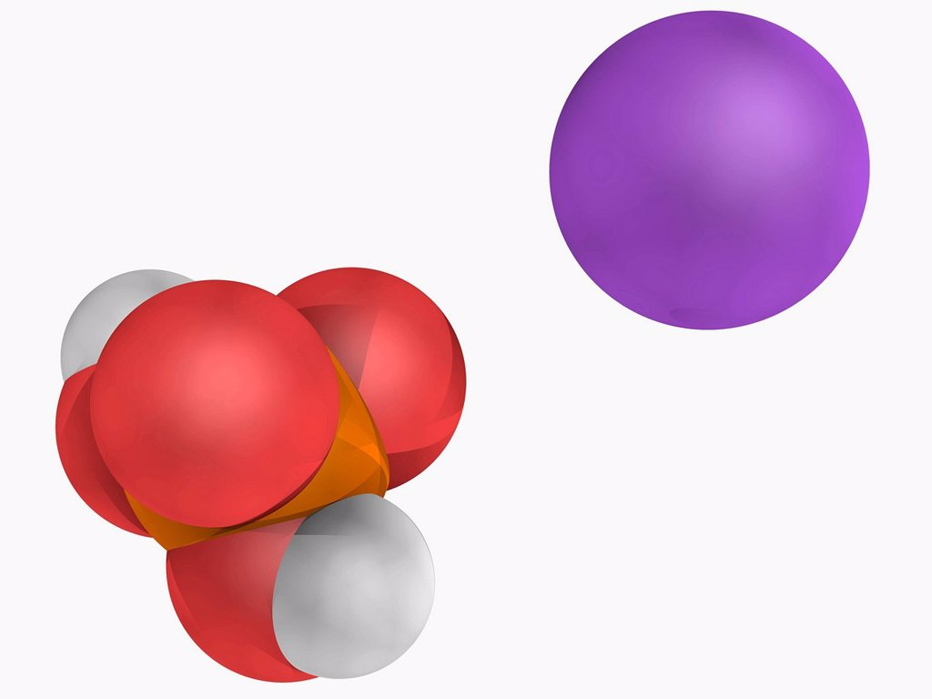 Monosodium phosphate, molecular model. Chemical compound used as a laxative. Atoms are represented as spheres and are colour_coded: phosphorus orange, hydrogen white, oxygen red and sodium violet. : Stock Photo