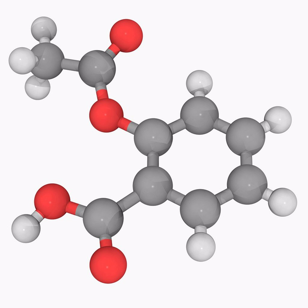 Stock Photo: 4128R-17131 Aspirin acetylsalicylic acid, molecular model. Used as an analgesic, antipyretic and anti_inflammatory. Atoms are represented as spheres and are colour_coded: carbon grey, hydrogen white and oxygen red.