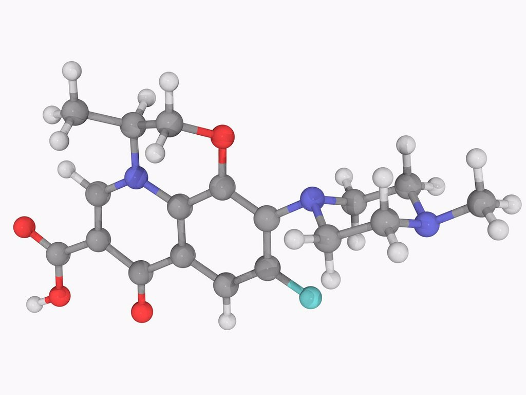 Levofloxacin, molecular model. Synthetic chemotherapeutic antibiotic used to treat severe or life_threatening bacterial infections. Atoms are represented as spheres and are colour_coded: carbon grey, hydrogen white, nitrogen blue, oxygen red and fluorine : Stock Photo