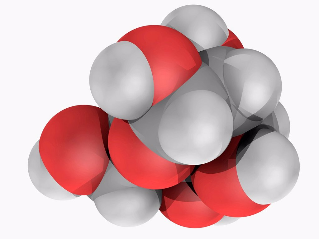 Stock Photo: 4128R-17196 Galactose, molecular model. Organic compound, type of sugar less sweet than glucose. Atoms are represented as spheres and are colour_coded: carbon grey, hydrogen white and oxygen red.