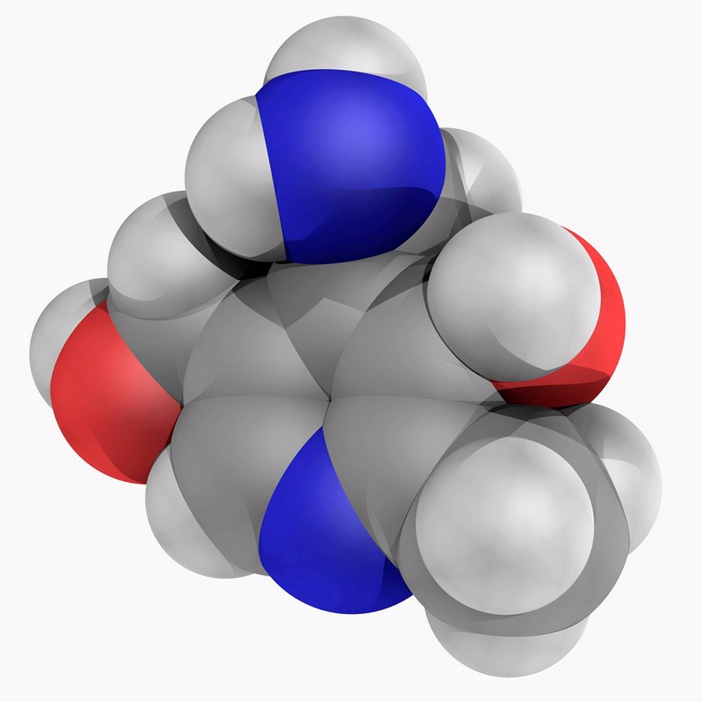 Stock Photo: 4128R-17203 Vitamin B6 pyridoxamine, molecular model. Vitamin converted to pyridoxal phosphate to become biologically active. Atoms are represented as spheres and are colour_coded: carbon grey, hydrogen white, nitrogen blue and oxygen red.