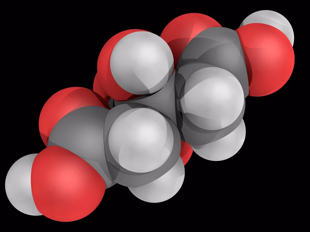 Citric acid, molecular model. Weak organic acid, used mainly as an acidifier, as a flavoring and as a chelating agent. Atoms are represented as spheres and are colour_coded: carbon grey, hydrogen white and oxygen red. : Stock Photo