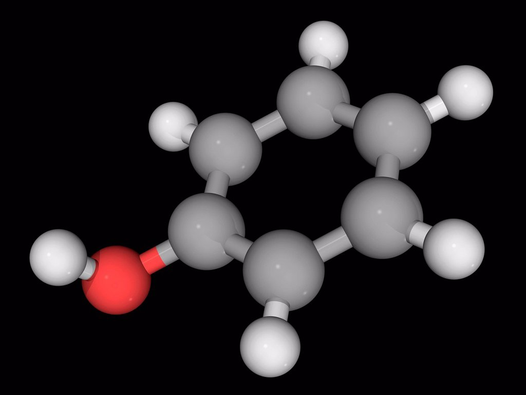 Stock Photo: 4128R-17412 Phenol carbolic acid, molecular model. Organic compound used for building polycarbonates, epoxies, Bakelite, nylon, detergents and a large collection of drugs. Atoms are represented as spheres and are colour_coded: carbon grey, hydrogen white and oxygen r