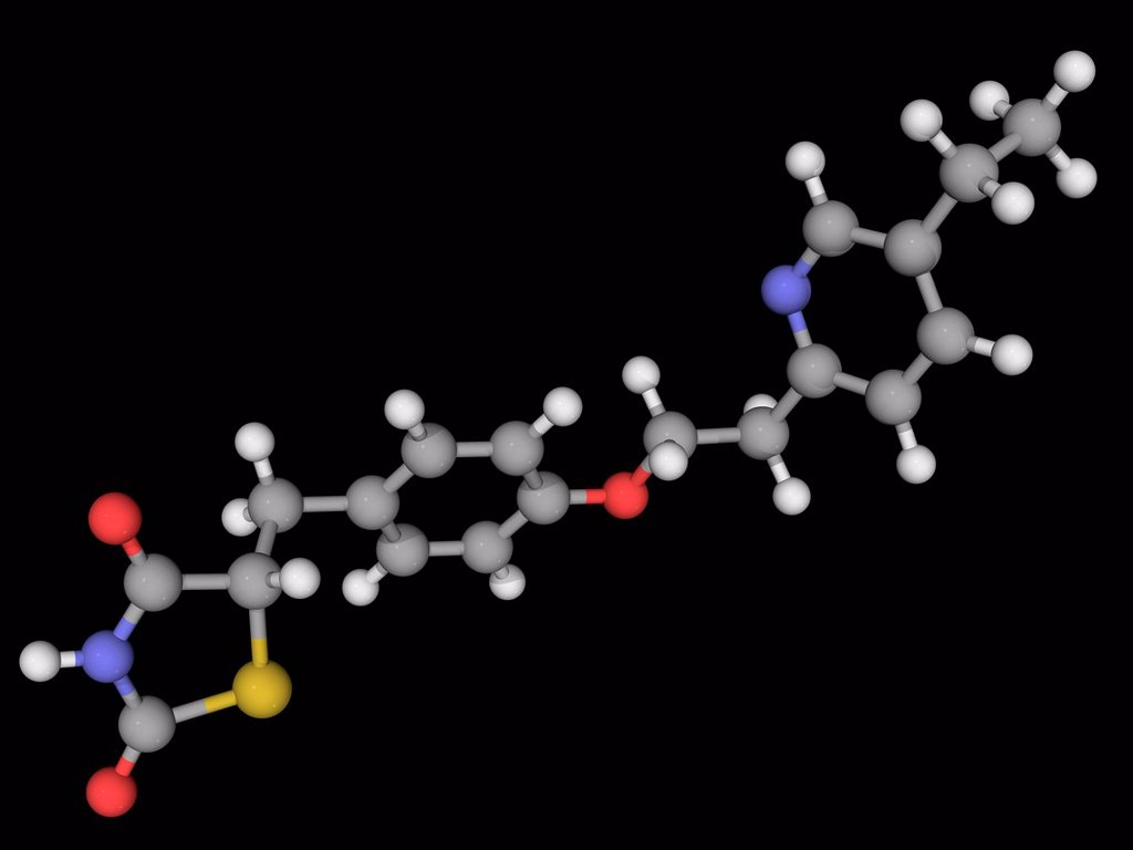 Pioglitazone, molecular model. Drug used for the treatment of diabetes mellitus type 2. Atoms are represented as spheres and are colour_coded: carbon grey, hydrogen white, nitrogen blue, oxygen red and sulfur yellow. : Stock Photo