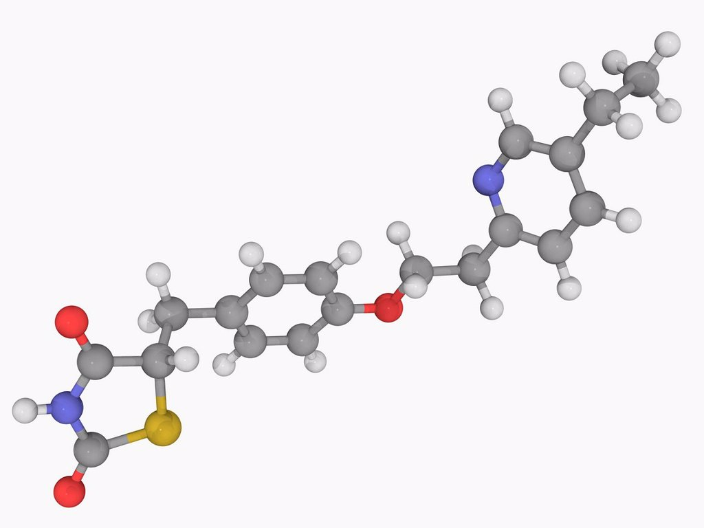 Stock Photo: 4128R-17547 Pioglitazone, molecular model. Drug used for the treatment of diabetes mellitus type 2. Atoms are represented as spheres and are colour_coded: carbon grey, hydrogen white, nitrogen blue, oxygen red and sulfur yellow.
