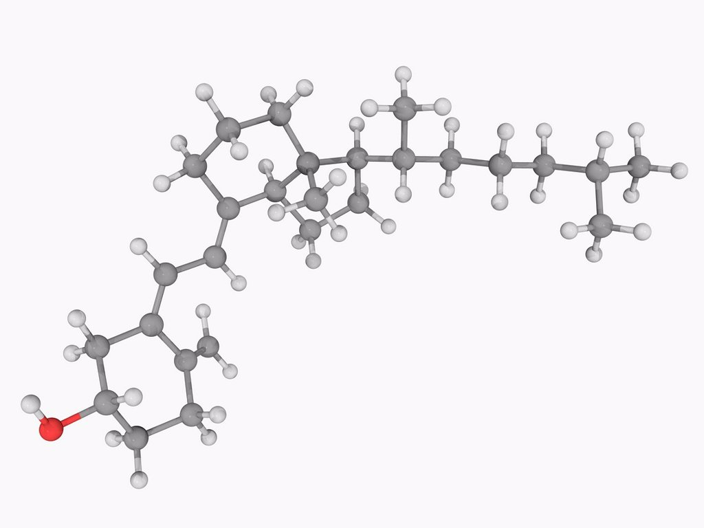 Stock Photo: 4128R-17625 Vitamin D, molecular model. Vitamin required as a prohormone and which can be synthesized in the body when sun exposure is adequate. Atoms are represented as spheres and are colour_coded: carbon grey, hydrogen white and oxygen red.