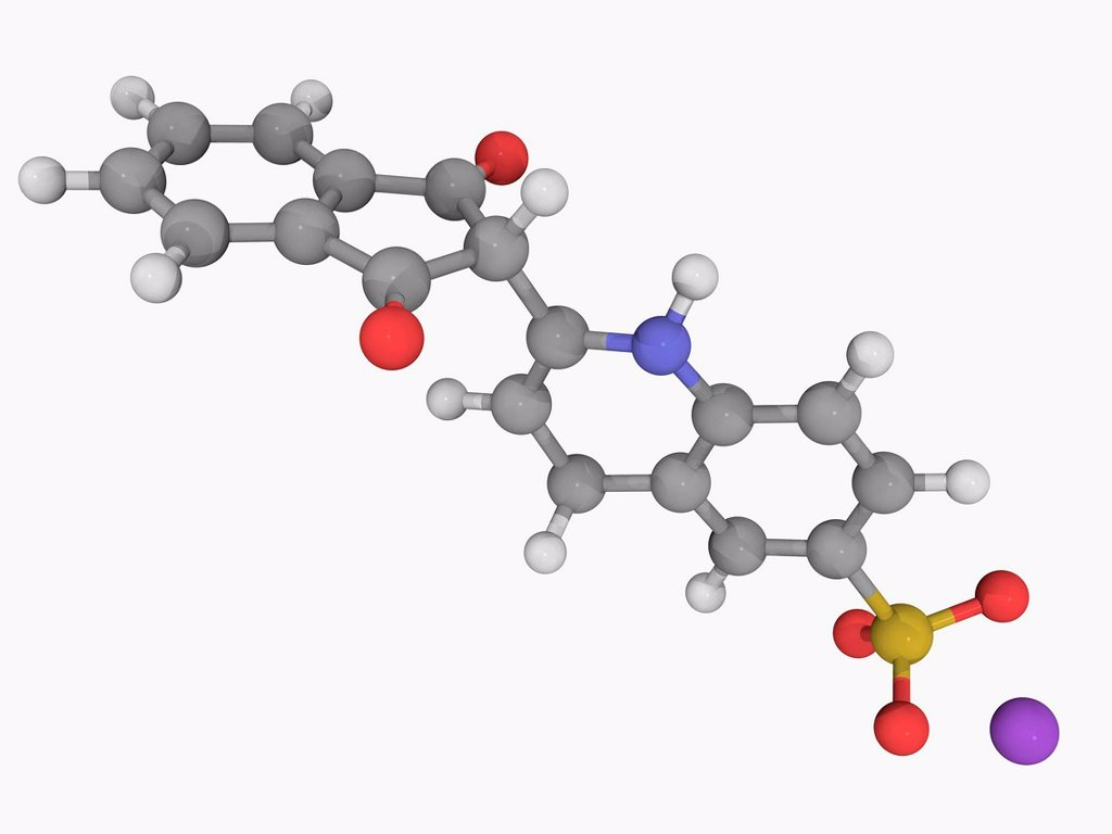 Stock Photo: 4128R-17665 Quinoline yellow E104, molecular model. Organic compound used as a water soluble greenish yellow food dye. Atoms are represented as spheres and are colour_coded: carbon grey, hydrogen white, nitrogen blue, oxygen red, sulfur yellow and sodium violet.