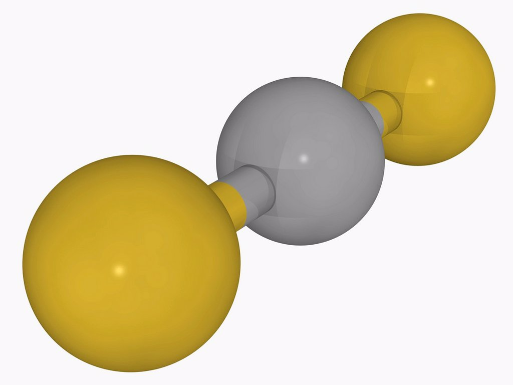 Stock Photo: 4128R-17744 Carbon disulfide, molecular model. Organic compound frequently used as a building block in organic chemistry. Atoms are represented as spheres and are colour_coded: carbon grey and sulfur yellow.