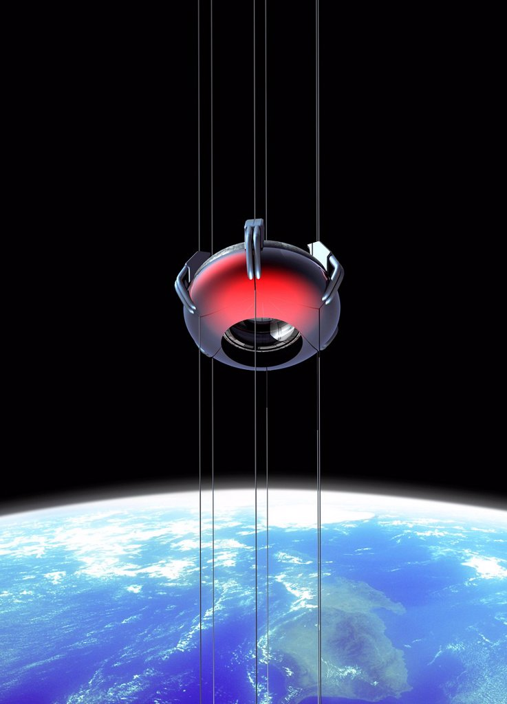 Stock Photo: 4128R-17800 Space elevator, computer artwork.