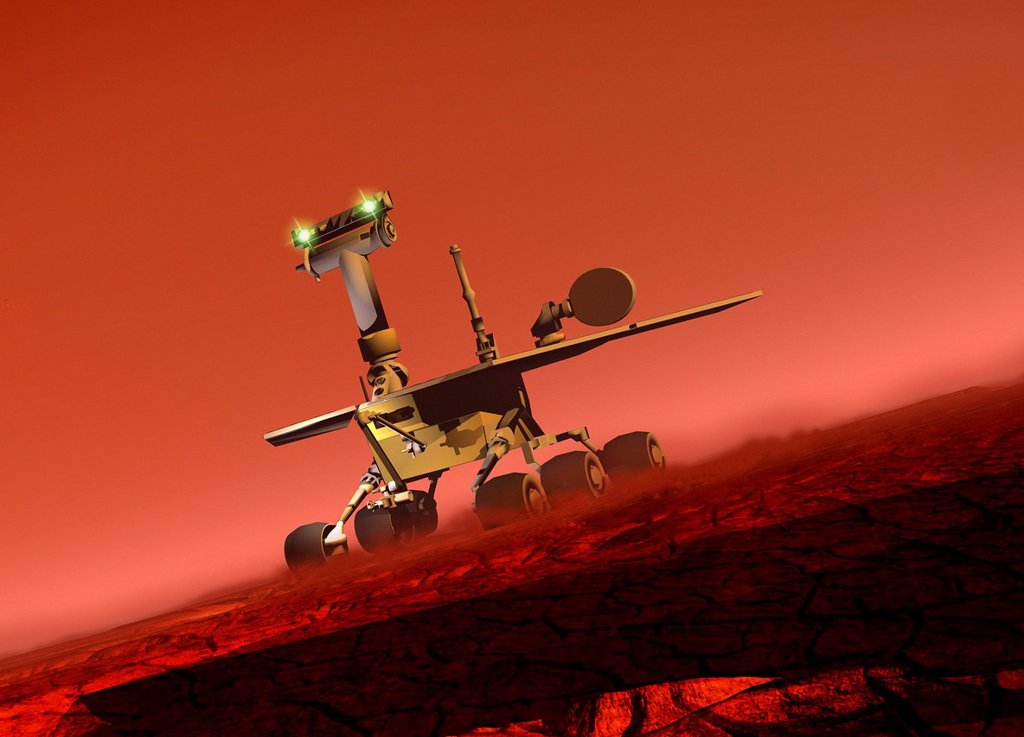 Stock Photo: 4128R-17846 Curiosity rover. Computer artwork of the Mars Science Laboratory MSL mission rover, Curiosity, on the Martian surface.