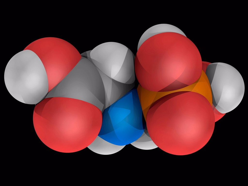Stock Photo: 4128R-17918 Glyphosate, molecular model. Broad_spectrum_herbicide used to kill weeds. Atoms are represented as spheres and are colour_coded: carbon grey, hydrogen white, nitrogen blue, oxygen red and phosphorus orange.