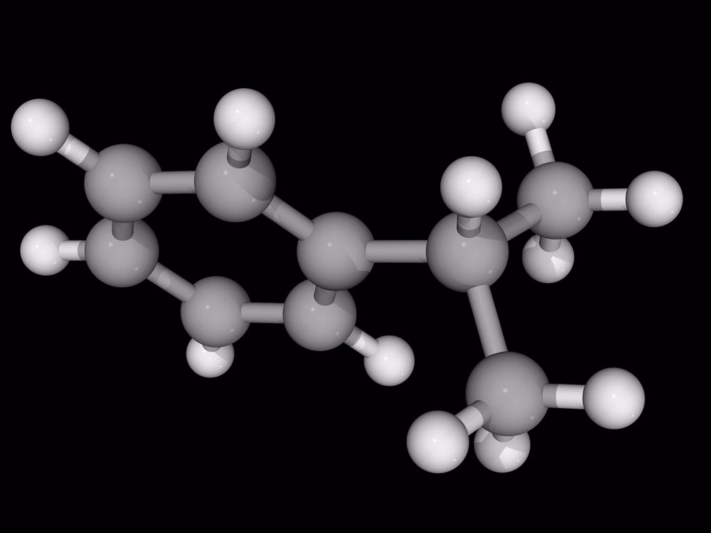 Stock Photo: 4128R-17935 Cumene isopropylbenzene, molecular model. Aromatic hydrocarbon, constituent of crude oil and refined fuels. Atoms are represented as spheres and are colour_coded: carbon grey and hydrogen white.