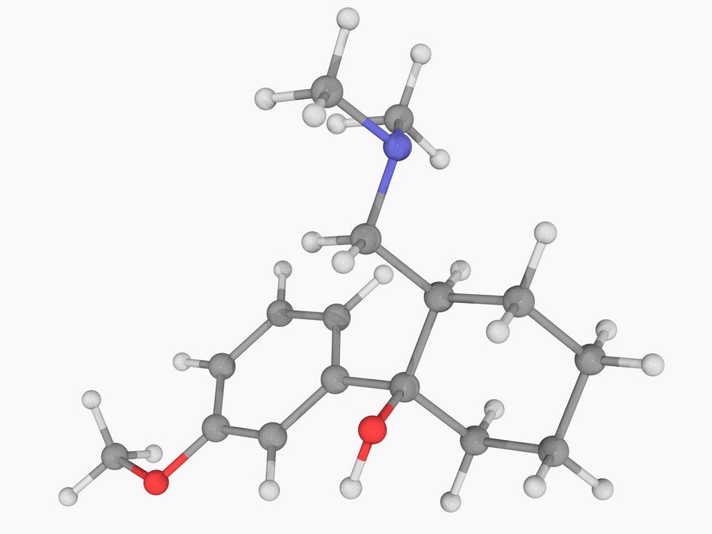 Stock Photo: 4128R-17948 Tramadol, molecular model. Centrally acting synthetic opioid analgesic used in treating severe pain. Atoms are represented as spheres and are colour_coded: carbon grey, hydrogen white, nitrogen blue and oxygen red.