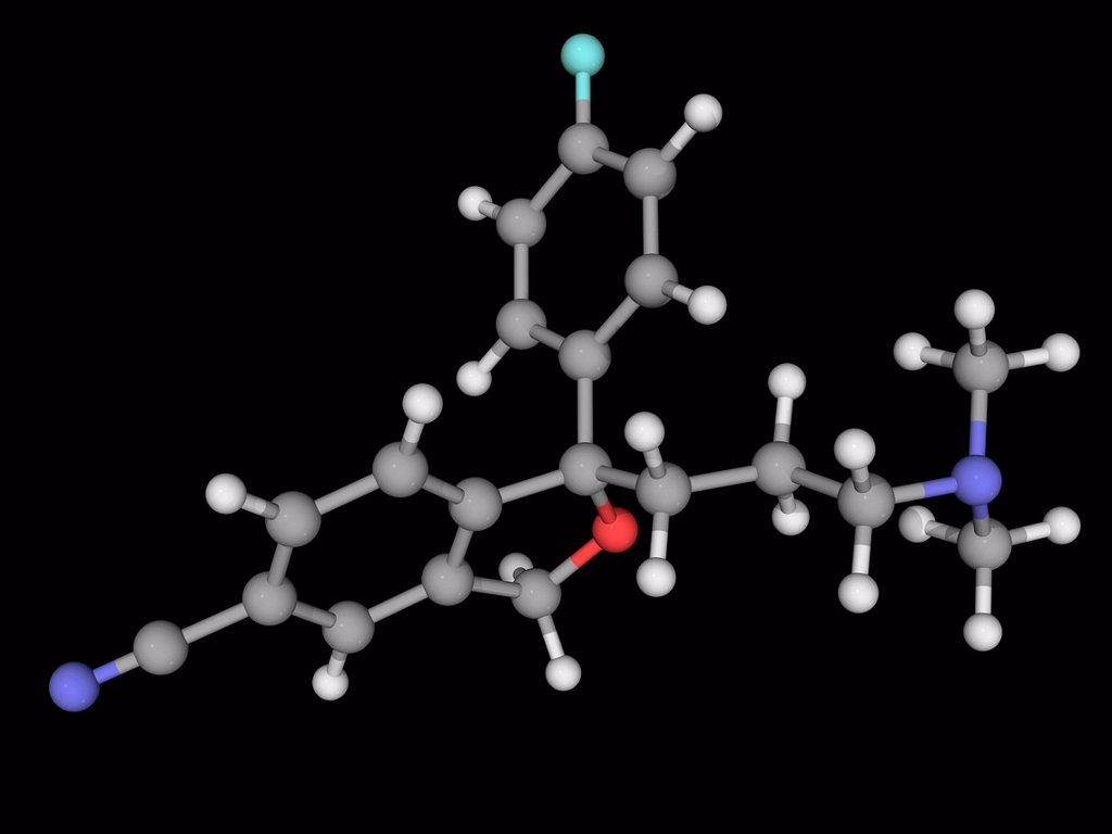 Stock Photo: 4128R-17993 Citalopram, molecular model. Antidepressant drug of the selective serotonin reuptake inhibitor class. Atoms are represented as spheres and are colour_coded: carbon grey, hydrogen white, nitrogen blue, oxygen red and fluorine cyan.
