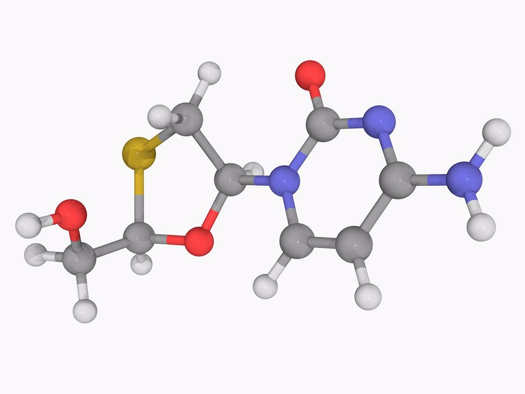 Stock Photo: 4128R-18009 Lamivudine, molecular model. Potent nucleoside analogue reverse transcriptase inhibitor used for treatment of chronic hepatitis B. Atoms are represented as spheres and are colour_coded: carbon grey, hydrogen white, nitrogen blue, oxygen red and sulfur yel