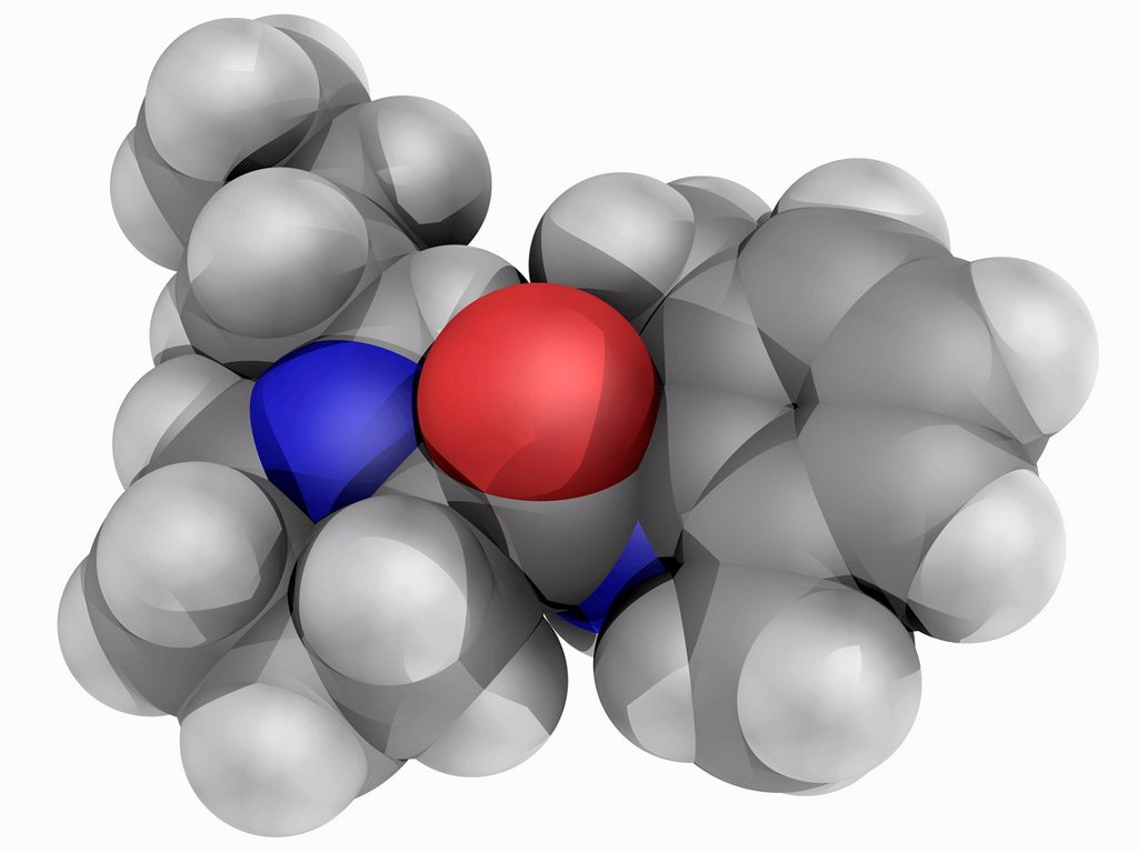 Stock Photo: 4128R-18013 Bupivacaine, molecular model. Drug used for local anaesthesia. Atoms are represented as spheres and are colour_coded: carbon grey, hydrogen white, nitrogen blue and oxygen red.