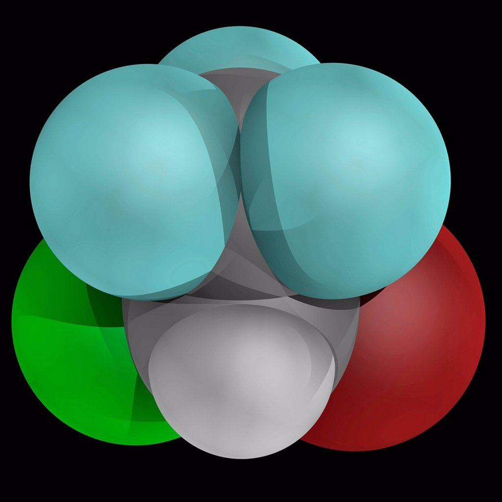 Halothane, molecular model. Inhalational general aesthetic. Atoms are represented as spheres and are colour_coded: carbon grey, hydrogen white, fluorine cyan, bromine brown and chlorine green. : Stock Photo