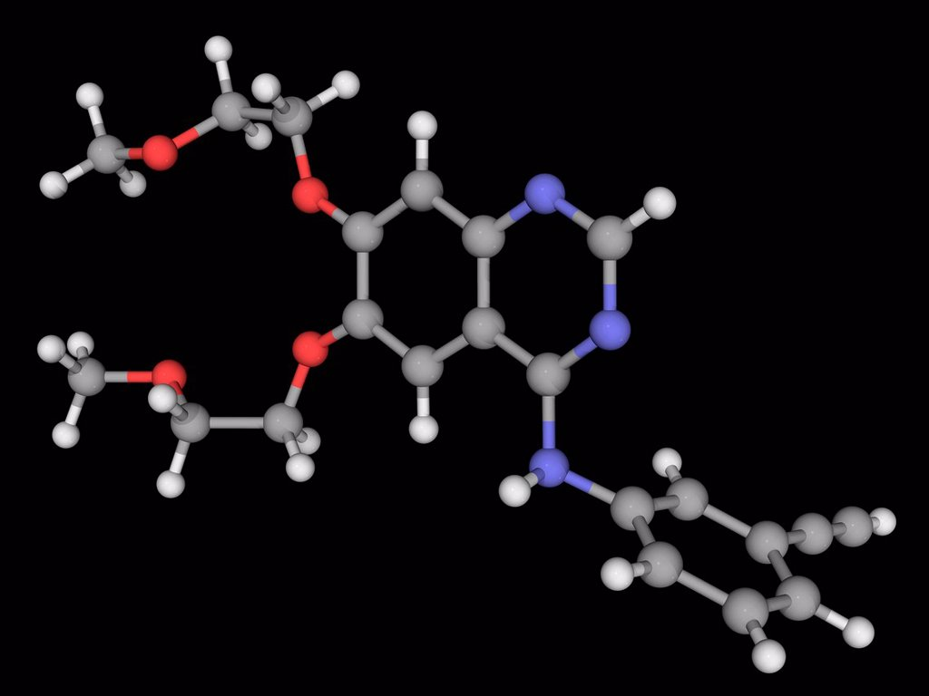 Erlotinib, molecular model. Drug used to treat non_small cell lung cancer, pancreatic cancer and other types of cancer. Atoms are represented as spheres and are colour_coded: carbon grey, hydrogen white, nitrogen blue and oxygen red. : Stock Photo