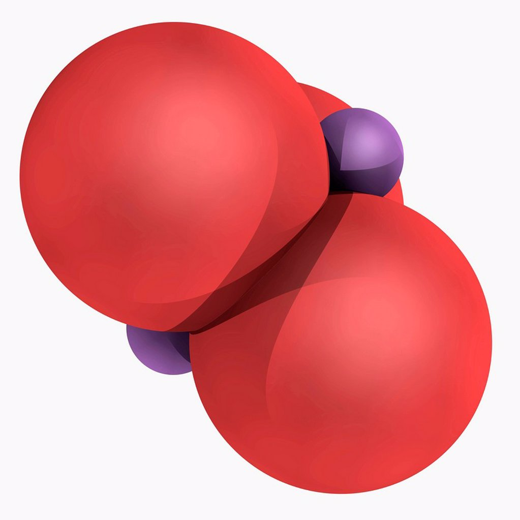 Stock Photo: 4128R-18191 Arsenic trioxide, molecular model. Precursor to arsenic compounds, including organoarsenic compounds. Atoms are represented as spheres and are colour_coded: arsenic violet and oxygen red.