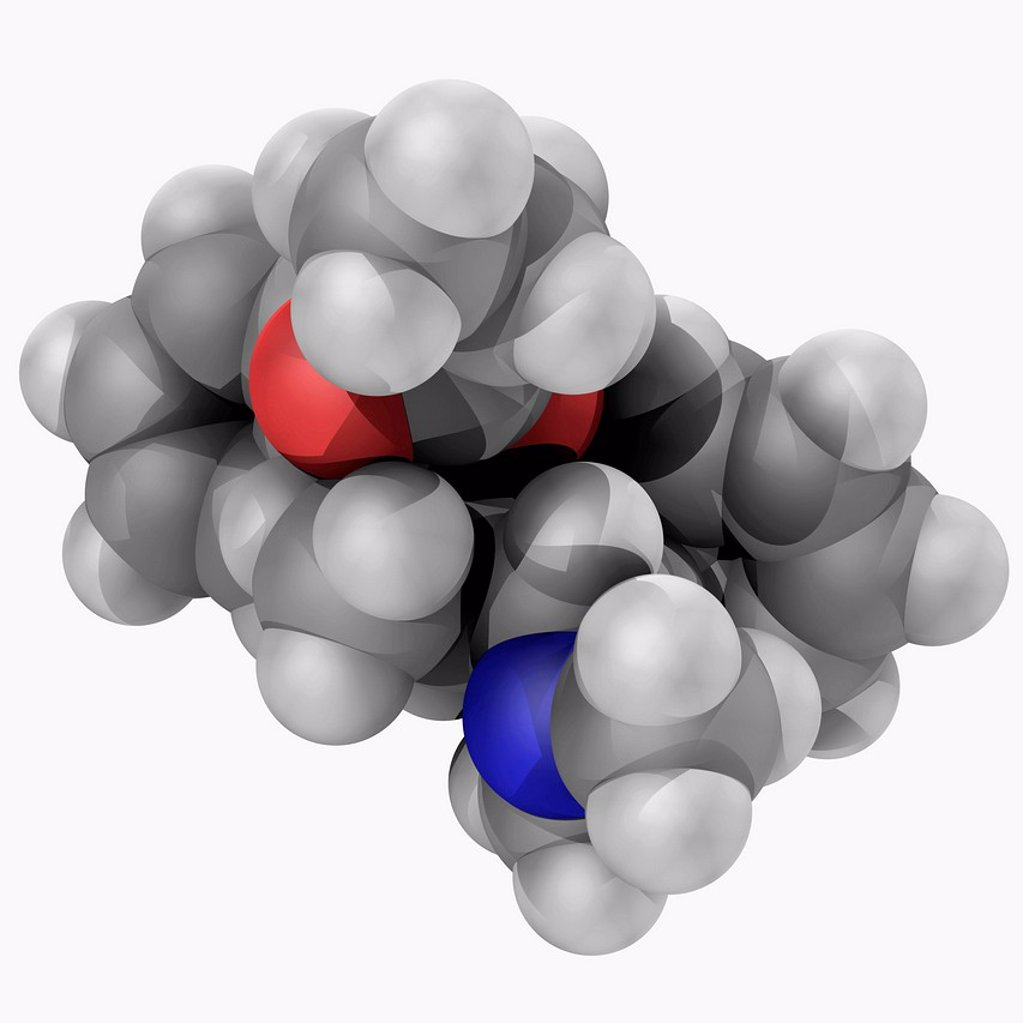 Stock Photo: 4128R-18489 Dextropropoxyphene propoxyphene, molecular model. Mild pain kiler. It was taken off the market in Europe and the USA because of fatal overdoses and arrhythmias. Atoms are represented as spheres and are colour_coded: carbon grey, hydrogen white, nitrogen b