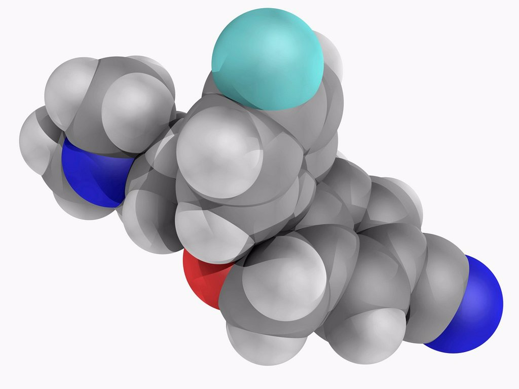 Escitalopram, molecular model. Antidepressant of the selective serotonin reuptake inhibitor class. Used in the treatment of major depressive disorder and general anxiety disorder. Atoms are represented as spheres and are colour_coded: carbon grey, hydroge : Stock Photo